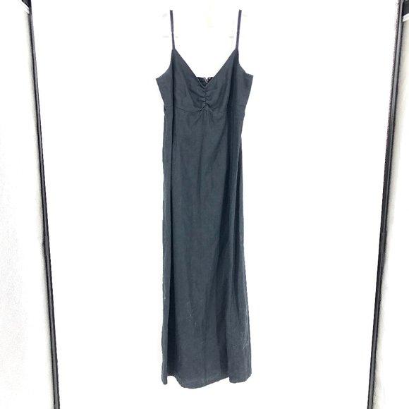 Old Navy 100% Linen Maxi Dress Black Sz 6